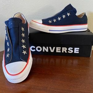 NIB Women's Converse Sz6.5 Blue/Red Star SlipOns